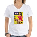 Titter Hot Pin Up Brunette Girl Women's V-Neck T-S