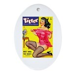 Titter Hot Pin Up Brunette Girl Ornament (Oval)