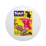 Titter Hot Pin Up Brunette Girl Ornament (Round)