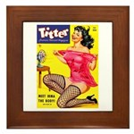 Titter Hot Pin Up Brunette Girl Framed Tile