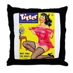 Titter Hot Pin Up Brunette Girl Throw Pillow