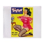 Titter Hot Pin Up Brunette Girl Throw Blanket