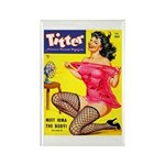 Titter Hot Pin Up Brunette Girl Rectangle Magnet