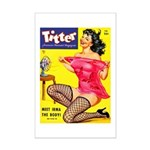 Titter Hot Pin Up Brunette Girl Mini Poster Print
