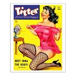 Titter Hot Pin Up Brunette Girl Small Poster