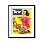 Titter Hot Pin Up Brunette Girl Framed Panel Print