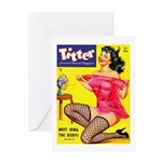 Titter Hot Pin Up Brunette Girl Greeting Card