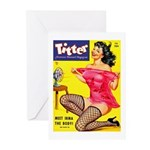 Titter Hot Pin Up Brunette Girl Greeting Cards (Pk