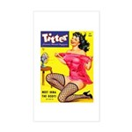 Titter Hot Pin Up Brunette Girl Sticker (Rectangle