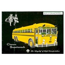 Framed Crown Coach School Bus Advertisement