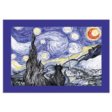 Van Gogh Kitty Starry Night Art Print