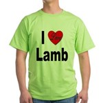 I Love Lamb (Front) Green T-Shirt