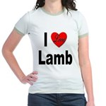 I Love Lamb (Front) Jr. Ringer T-Shirt