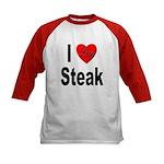 I Love Steak (Front) Kids Baseball Jersey