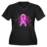 Vintage Pink Ribbon Women's Plus Size V-Neck Dark