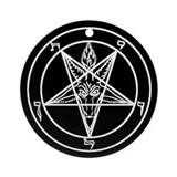 Bloodfire Baphomet Porcelain Ornament (Round)