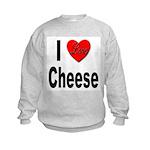 I Love Cheese (Front) Kids Sweatshirt