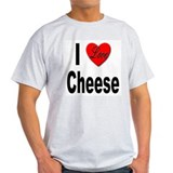 I Love Cheese (Front) Ash Grey T-Shirt