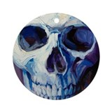 Blue Pink Top Skull ornament by BAXA