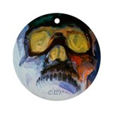 Screaming Green Eyes Skull ornament by BAXA