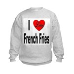 I Love French Fries (Front) Kids Sweatshirt