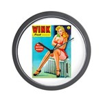 Wink Pouting Blonde Pin Up Beauty Wall Clock