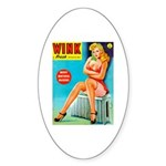 Wink Pouting Blonde Pin Up Beauty Sticker (Oval)