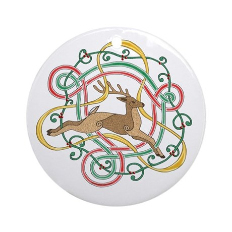 Celtic Reindeer Knots Ornament (Round)