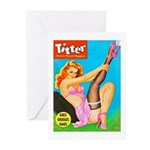 Titter Pin Up Girl with Black Stocking Greeting Ca