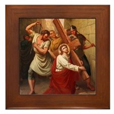 Jesus Falls Framed Tile