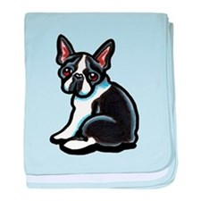Cute Boston Terrier baby blanket