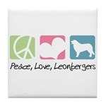 Peace, Love, Leonbergers Tile Coaster