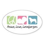 Peace, Love, Leonbergers Sticker (Oval 10 pk)
