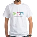 Peace, Love, Lhasa Apsos White T-Shirt
