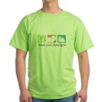 Peace, Love, Lhasa Apsos Green T-Shirt