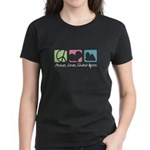 Peace, Love, Lhasa Apsos Women's Dark T-Shirt