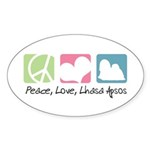 Peace, Love, Lhasa Apsos Sticker (Oval 50 pk)