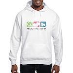 Peace, Love, Löwchen Hooded Sweatshirt