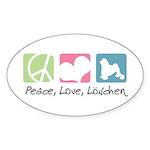 Peace, Love, Löwchen Sticker (Oval 10 pk)