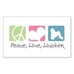 Peace, Love, Löwchen Sticker (Rectangle 10 pk)
