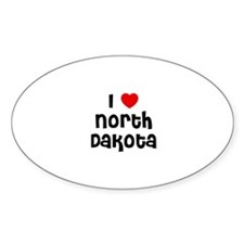 I * North Dakota Oval Decal