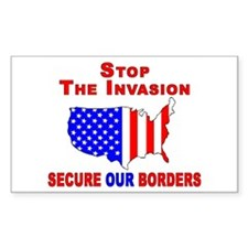 STOP The Invasion Rectangle Decal