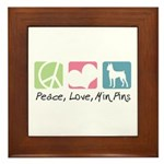 Peace, Love, Min Pins Framed Tile