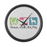 Peace, Love, Min Pins Large Wall Clock