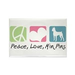 Peace, Love, Min Pins Rectangle Magnet (100 pack)