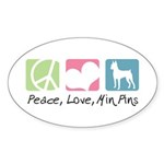 Peace, Love, Min Pins Sticker (Oval 50 pk)