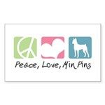 Peace, Love, Min Pins Sticker (Rectangle 10 pk)