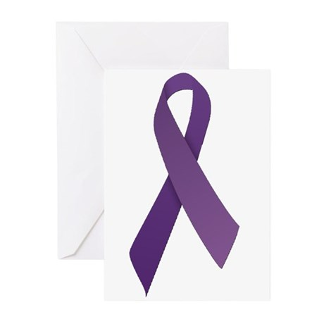 Purple Ribbons Greeting Cards (Pk of 20)