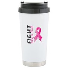 Fight Like A Girl Breast Cancer Ceramic Travel Mug