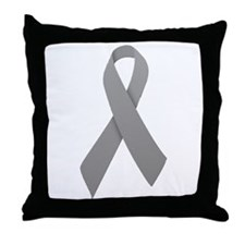 Gray Ribbon Throw Pillow